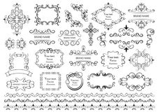 Set of vector graphic elements for design. Calligraphic Design Elements, Border Corner Frame and Invitation Collection royalty free illustration