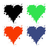 Set of vector graphic grunge illustrations of heart, sign with ink blot, brush strokes, drops isolated on the white background. Se Royalty Free Stock Photography
