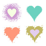 Set of vector graphic grunge illustrations of heart, sign with ink blot, brush strokes, drops isolated on the white background. Se Stock Image