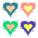 Set of vector graphic grunge illustrations of heart, sign with ink blot, brush strokes, drops isolated on the white background. Se Stock Photos