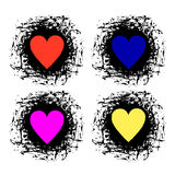 Set of vector graphic grunge illustrations of heart, sign with ink blot, brush strokes, drops isolated on the white background. Se Stock Photography