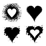 Set of vector graphic grunge illustrations of heart, sign with ink blot, brush strokes Royalty Free Stock Photo