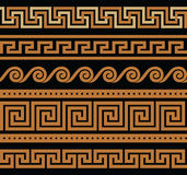 Set of vector greek borders Royalty Free Stock Images