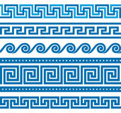 Set of vector greek borders Stock Photos