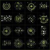 Set of vector green abstract backgrounds created in Bauhaus retr. O style. Modern geometric backdrops can be used as templates and layouts. Engineering Royalty Free Stock Images