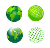 Set of Vector Green Globe Icons Royalty Free Stock Image