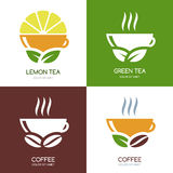 Set of vector green tea and hot coffee flat logo icons. stock illustration