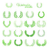 Set of vector green watercolour wreaths. Bright natural wreaths isolated on white background Royalty Free Stock Photos