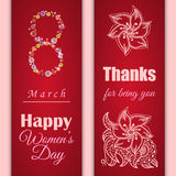 Set of vector greeting cards or banners for 8 march. Happy Women's Day. International women's day. Floral pattern on red background Stock Photography