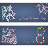 Set of vector greeting cards or banners for 8 march with place for text. Happy Women's Day. International women's day. Floral pattern on blue background royalty free illustration