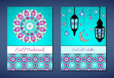 Set of vector greeting cards to Feast of the Sacrifice (Eid-Al-Adha). Congratulation's backgrounds with text, muslim symbols and mosaic mandalas patterns. A4 Royalty Free Stock Images
