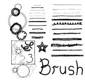 Set of vector grunge brushes. Abstract hand drawn. Ink strokes. Looks like hand drawn Stock Photo