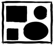 Set of vector grunge frames. Set of vector brush strokes, grunge frame set, black borders Royalty Free Stock Image