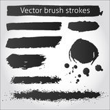 Set of vector grunge ink strokes and blot Stock Image