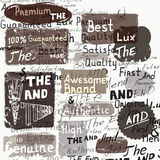 Set of vector grunge labels on a hand writhing background in vin Royalty Free Stock Photos