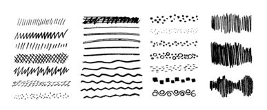 Set of vector grungy graphite pencil art brushes. Pencil textures of different shapes. Easy edit color and apply to any. Path, write and draw. EPS 10 stock illustration