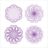 Set of vector guilloche rosettes Royalty Free Stock Images