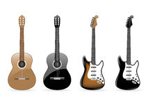 Set of vector guitars. Set of four vector guitars on white background Stock Photos