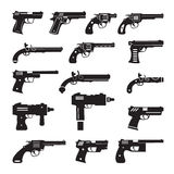Set of vector guns, handguns and pistols Stock Photo