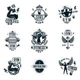 Set of vector gym theme emblems and motivational banners compose Royalty Free Stock Photo