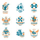 Set of vector gym theme emblems and motivational banners compose Stock Image
