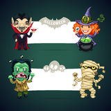 Set of Vector Halloween Banners with Monsters Royalty Free Stock Photo