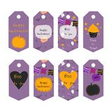 Set of 8 vector halloween gift tags with text. stock illustration