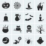 Set of vector halloween icons. Collection of 16 halloween icons. Vector illustration Stock Photos