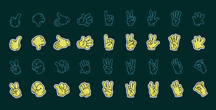 Set of vector hand drawing. 18 hand gesturing vector illustration Royalty Free Stock Image