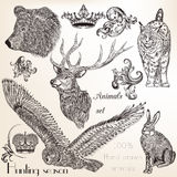 Set of vector hand drawn animals Stock Photography