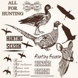 Set of vector hand drawn animals hunting season design Royalty Free Stock Photos