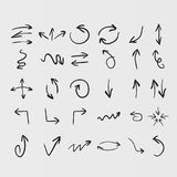 Set of vector hand drawn arrow icons. On white background Royalty Free Stock Photo