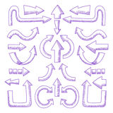 Set of vector hand drawn arrows Stock Images