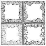Set of vector hand drawn artistic black frames Stock Photo