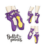 Set of vector hand drawn ballet shoes points. Royalty Free Stock Images
