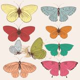 Set of vector hand drawn butterflies in vintage style Royalty Free Stock Image