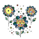 Set of vector hand drawn childish flowers Cute childlike Doodle, sketch, cartoon style. Line drawing. Graphic illustration Royalty Free Stock Images