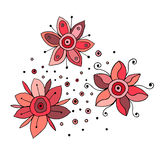 Set of vector hand drawn childish flowers Cute childlike Doodle, sketch, cartoon style. Line drawing. Graphic illustration Royalty Free Stock Photography