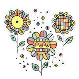 Set of vector hand drawn childish flowers Cute childlike Doodle, sketch, cartoon style. Line drawing. Graphic illustration Stock Photography