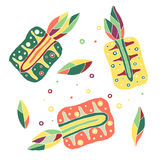 Set of vector hand drawn childish fruits. Cute childlike pineapple with leaves, seeds, drops. Doodle, sketch, cartoon style. Royalty Free Stock Photo