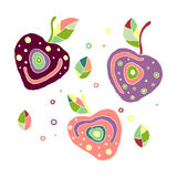 Set of vector hand drawn childish juicy, fruits. Cute childlike cherry with leaves, seeds, drops. Doodle, sketch, cartoon style. G Royalty Free Stock Photo