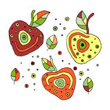 Set of vector hand drawn childish juicy, fruits. Cute childlike cherry with leaves, seeds, drops. Doodle, sketch, cartoon style. L Stock Images