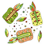 Set of vector hand drawn childish juicy, fruits. Cute childlike pimeapple with leaves, seeds, drops. Doodle, sketch, cartoon style Royalty Free Stock Photography