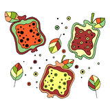 Set of vector hand drawn childish juicy, fruits. Cute childlike pomegranate with leaves, seeds, drops. Doodle, sketch, cartoon sty Stock Image