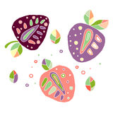 Set of vector hand drawn childish juicy, fruits. Cute childlike strawberry, leaves, seeds, drops. Doodle, sketch, cartoon style. G Royalty Free Stock Images