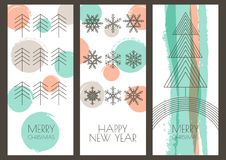 Set of vector hand drawn Christmas, New Year greeting cards. Lin Royalty Free Stock Photography
