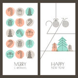 Set of vector hand drawn Christmas, New Year greeting cards. Set of vector universal hand drawn Christmas, New Year greeting cards. Linear gifts icons and Stock Image