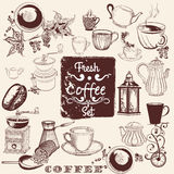 Set of vector hand drawn coffee elements for design Stock Photography