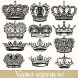 Set of vector hand drawn crowns in vintage style Stock Photography