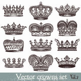 Set of vector hand drawn crowns in vintage style Stock Image